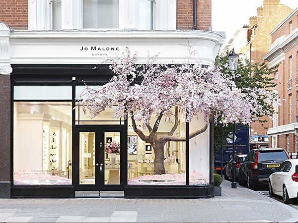 Jo Malone store on Sloane Street (London),  has a tree growing out of their window. Blurring the physical and the digital experience.