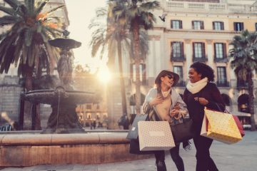 Happy shoppers in Barcelona