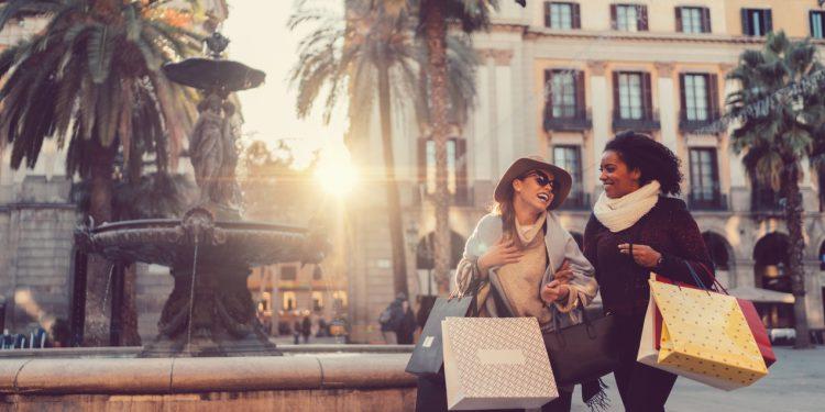 Happy shoppers in Barcelona